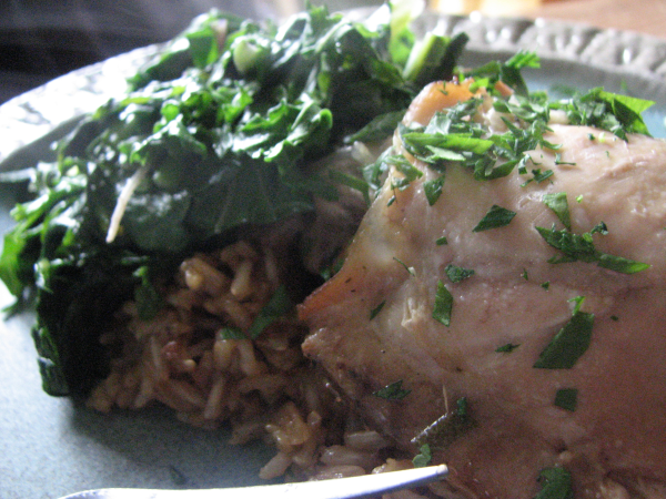 Chicken and Rice with Beer, Sage and Parsley