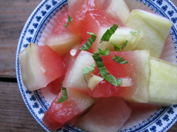 Pickled Watermelon Rind with Mint