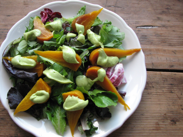 Golden Beet Root Salad with Avocado Dressing