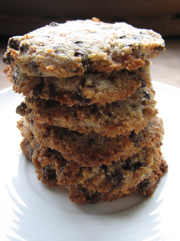 Ground Almond Chocolate Chip Cookies on Plate