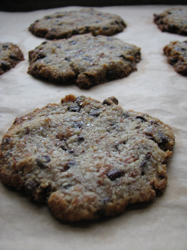 Ground Almond Chocolate Chip Cookies on Tray