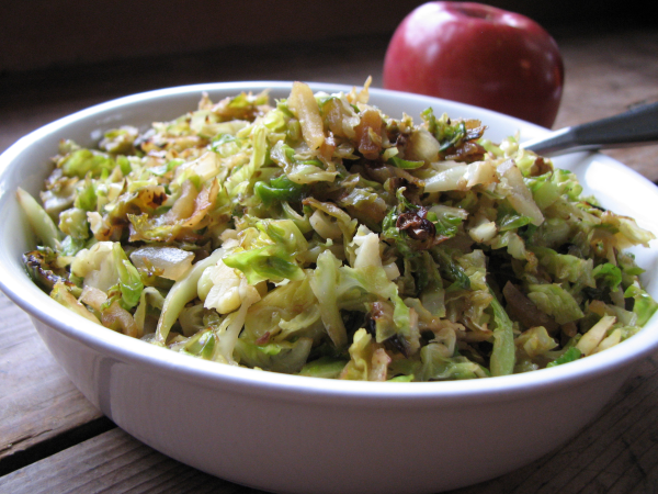 Sauteed Brussels Sprouts with Apples and Onions