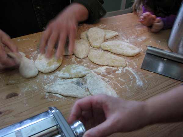 Preparing To Roll Out Fresh Fettucini Dough