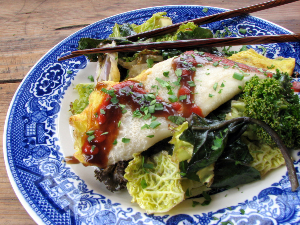 Jo's Taiwanese Omelet (Dan Bing) with roasted greens