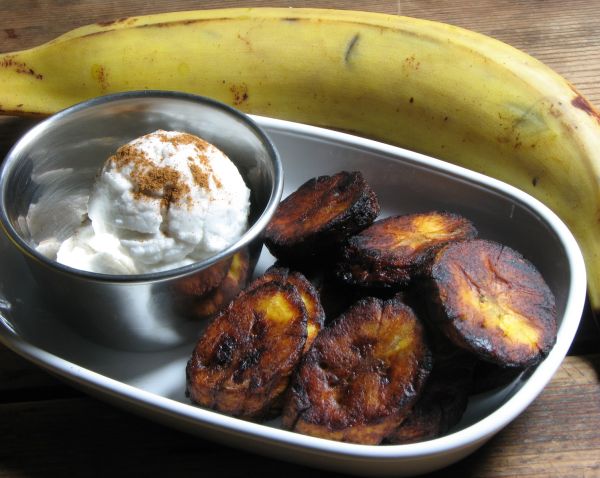 Jamaican Fried Plantains with Spiced Coconut Cream
