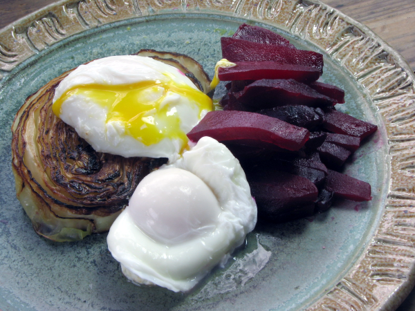 Poached Eggs With Caramelized Cabbage and Roasted Beets