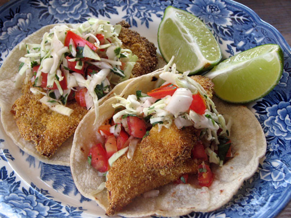Cornmeal Crusted Fish Tacos with Pico De Gallo